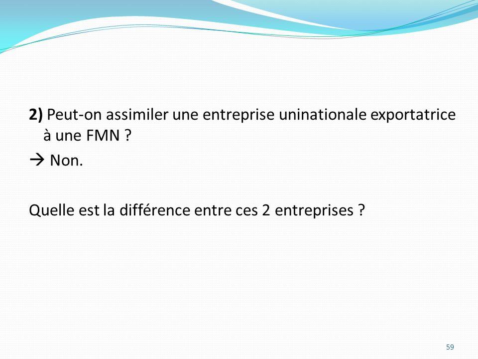 2) Peut-on assimiler une entreprise uninationale exportatrice à une FMN ? Non. Quelle est la différence entre ces 2 entreprises ? 59