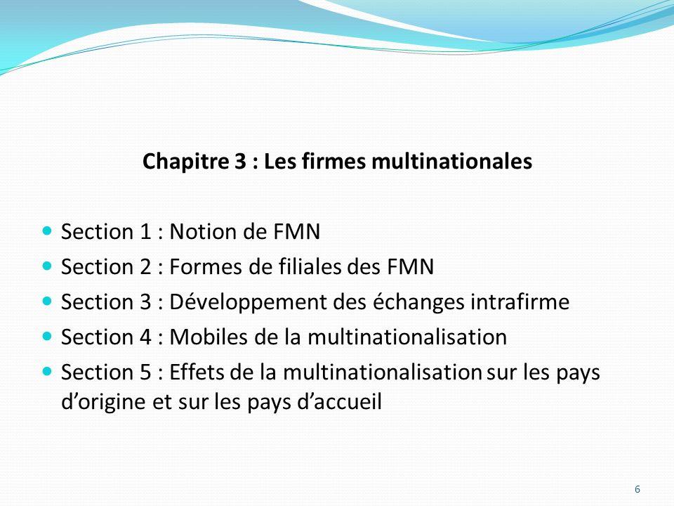 Chapitre 3 : Les firmes multinationales Section 1 : Notion de FMN Section 2 : Formes de filiales des FMN Section 3 : Développement des échanges intraf