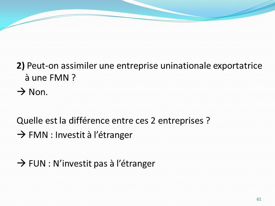 2) Peut-on assimiler une entreprise uninationale exportatrice à une FMN ? Non. Quelle est la différence entre ces 2 entreprises ? FMN : Investit à lét