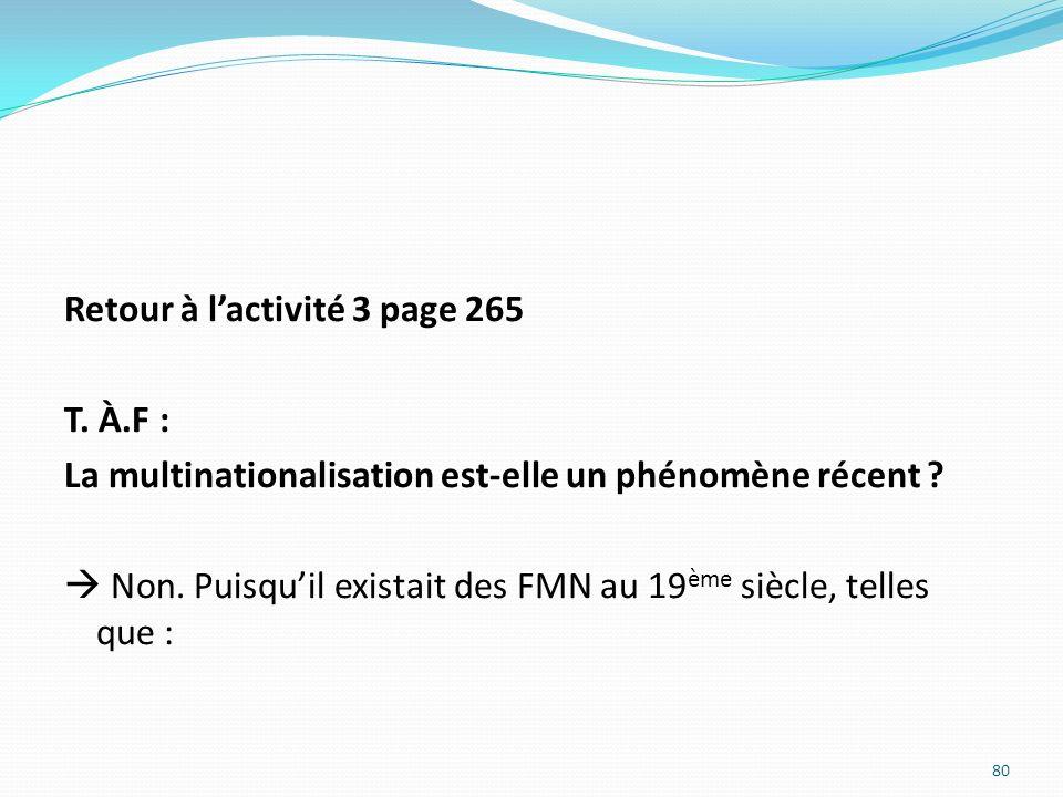 Retour à lactivité 3 page 265 T. À.F : La multinationalisation est-elle un phénomène récent ? Non. Puisquil existait des FMN au 19 ème siècle, telles