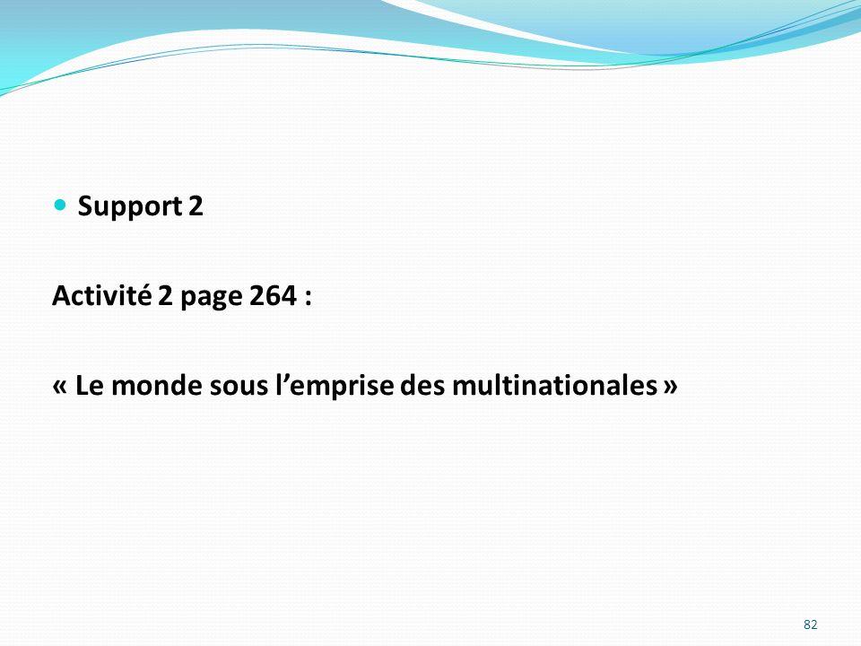 Support 2 Activité 2 page 264 : « Le monde sous lemprise des multinationales » 82