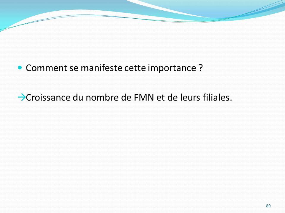 Comment se manifeste cette importance ? Croissance du nombre de FMN et de leurs filiales. 89