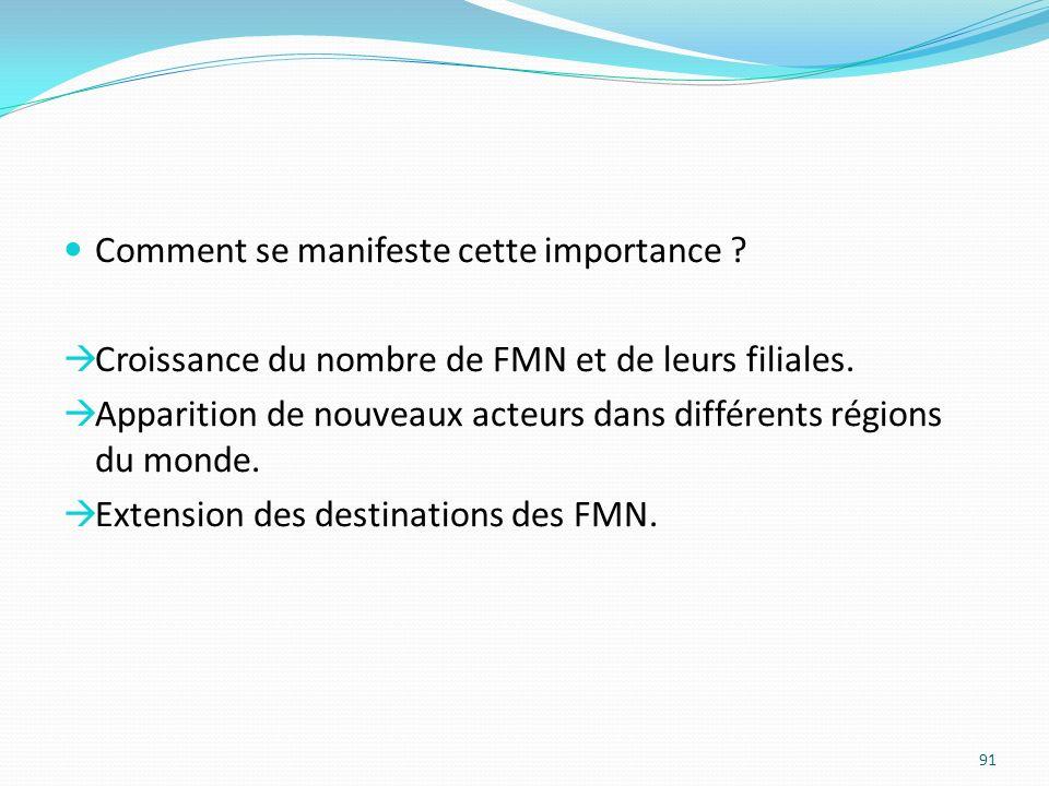 Comment se manifeste cette importance ? Croissance du nombre de FMN et de leurs filiales. Apparition de nouveaux acteurs dans différents régions du mo