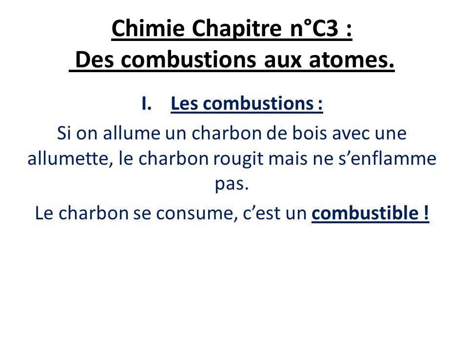 Chimie Chapitre n°C3 : Des combustions aux atomes. I.Les combustions : Si on allume un charbon de bois avec une allumette, le charbon rougit mais ne s