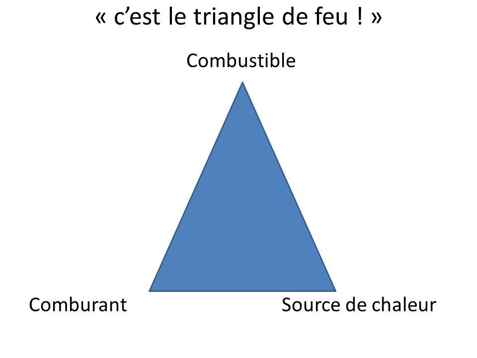 « cest le triangle de feu ! » Combustible Comburant Source de chaleur