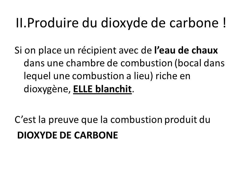 II.Produire du dioxyde de carbone ! Si on place un récipient avec de leau de chaux dans une chambre de combustion (bocal dans lequel une combustion a