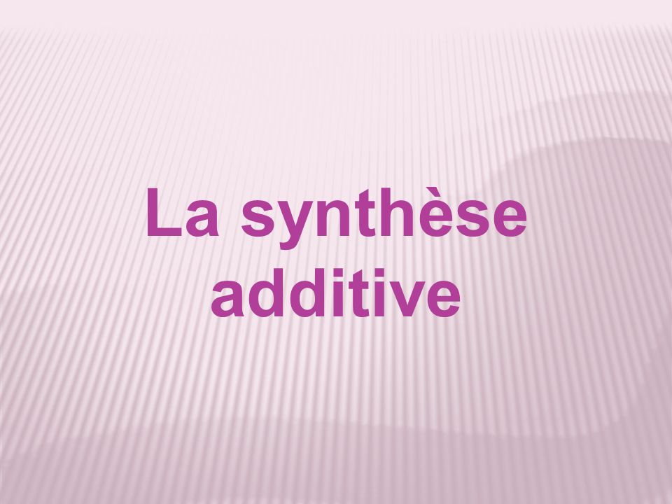 La synthèse additive