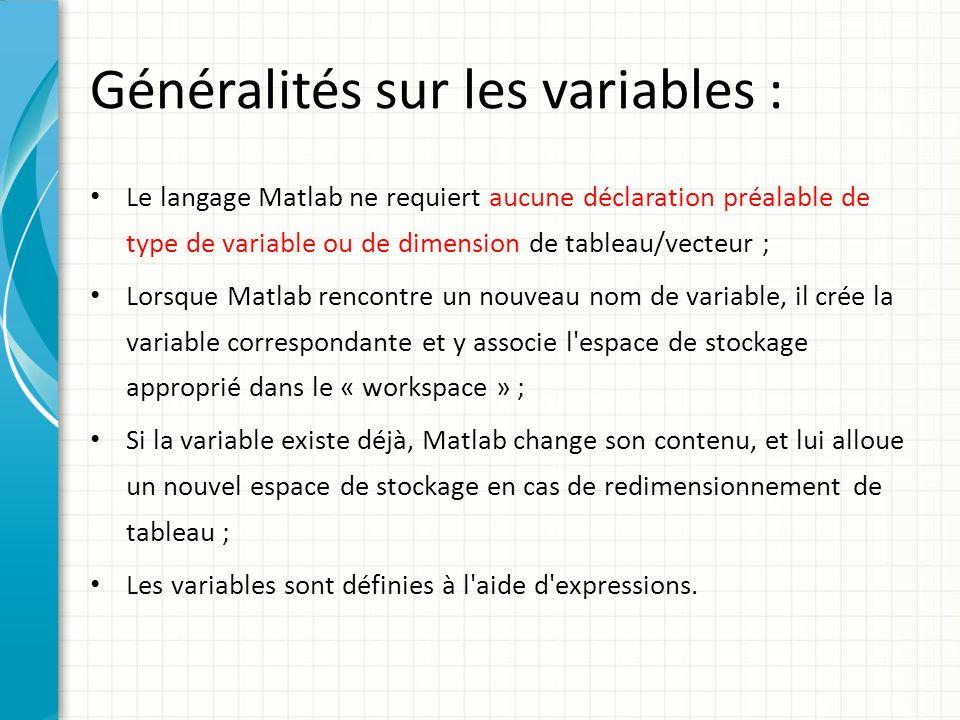 Généralités sur les variables : Nom de variable valide : lettre + nombre quelconque de lettres, chiffres ou _ Exemple Exemple : – x_min, COEFF55a, tres_long_nom_de_variable – noms non valides : 86ab, coeff-555 >> namelengthmax % Taille maximale du nom de variable Attention Attention .