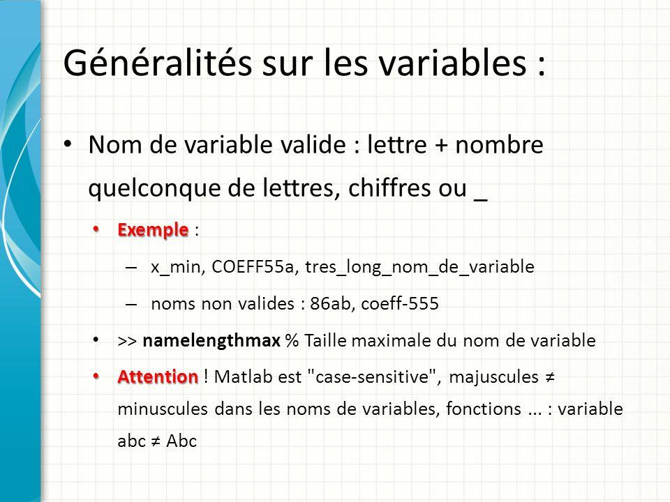 Généralités sur les variables : Les noms de toutes les constantes et fonctions prédéfinies Matlab sont en minuscules Pour désigner un ensemble de variables, on peut utiliser * (remplace 0, 1 ou plusieurs caractères quelconques) ou .