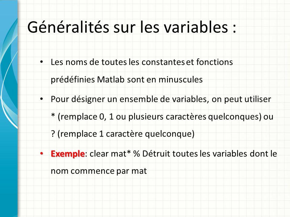Lespace de travail: Voici quelques commandes pour faciliter la programmation : – who – who : fournit la liste des variables définie dans lespace de travail (workspace).