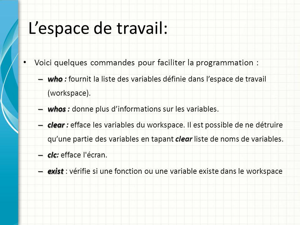 Lespace de travail: Exemple Exemple : >> x=2;y=x*x;z=y/4; >>A=[1 5; 5 8];B=A*A; >> t= bonjour ; >> who Your variables are: A B t x y z