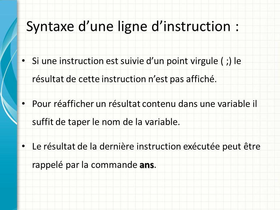 Syntaxe dune ligne dinstruction : Plusieurs instructions Matlab peuvent figurer sur une même ligne.