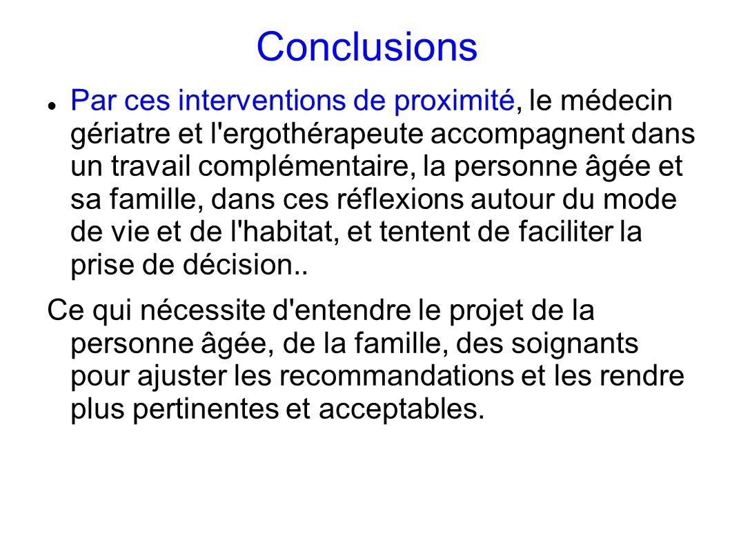 Conclusions Par ces interventions de proximité, le médecin gériatre et l'ergothérapeute accompagnent dans un travail complémentaire, la personne âgée