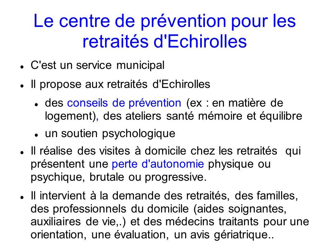 Le centre de prévention pour les retraités d'Echirolles C'est un service municipal Il propose aux retraités d'Echirolles des conseils de prévention (e