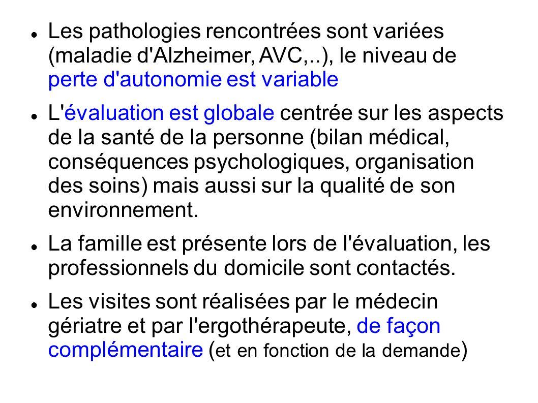 Les pathologies rencontrées sont variées (maladie d'Alzheimer, AVC,..), le niveau de perte d'autonomie est variable L'évaluation est globale centrée s