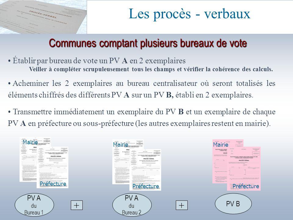 Établir par bureau de vote un PV A en 2 exemplaires Veiller à compléter scrupuleusement tous les champs et vérifier la cohérence des calculs. Achemine