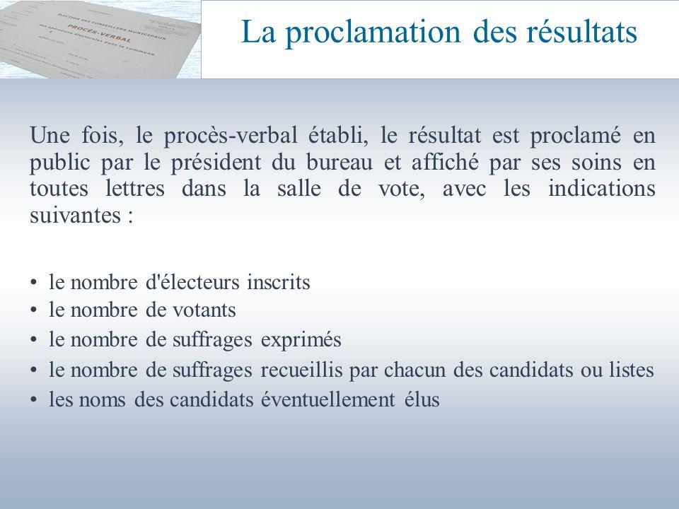 Une fois, le procès-verbal établi, le résultat est proclamé en public par le président du bureau et affiché par ses soins en toutes lettres dans la sa