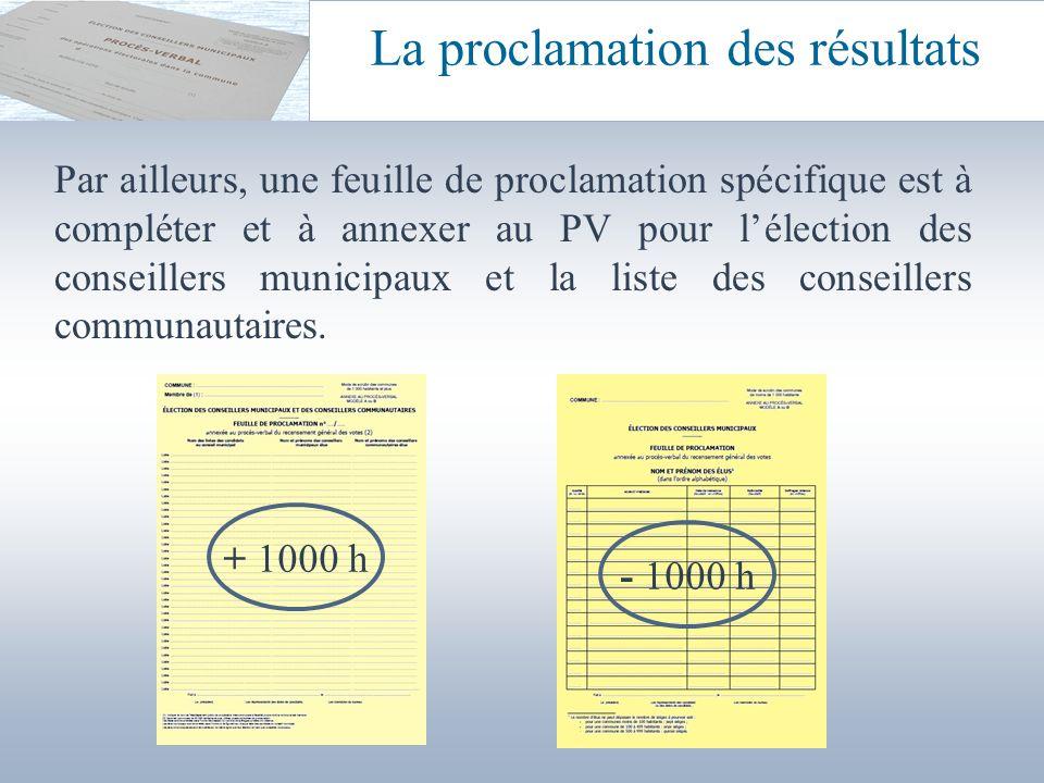 Par ailleurs, une feuille de proclamation spécifique est à compléter et à annexer au PV pour lélection des conseillers municipaux et la liste des cons