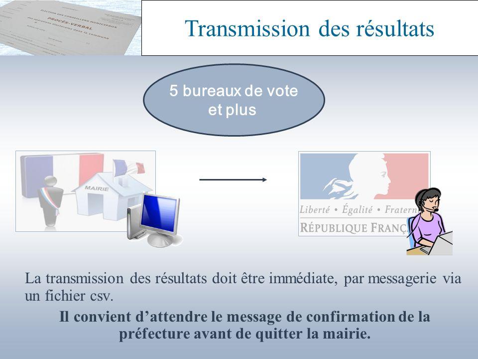 Transmission des résultats La transmission des résultats doit être immédiate, par messagerie via un fichier csv. Il convient dattendre le message de c