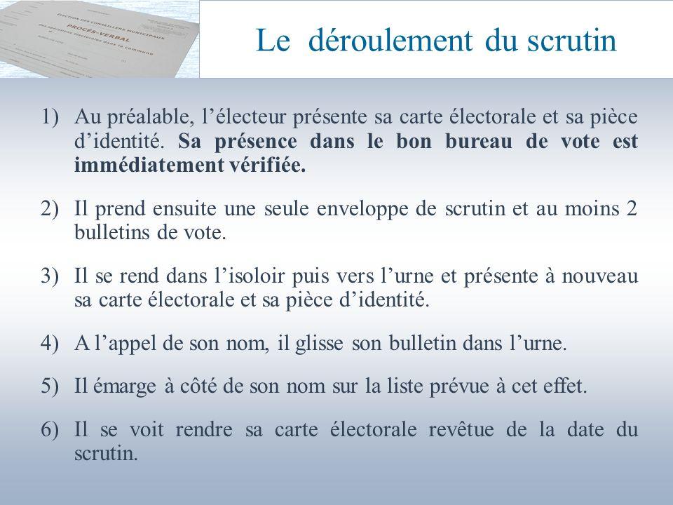 Le déroulement du scrutin 1)Au préalable, lélecteur présente sa carte électorale et sa pièce didentité. Sa présence dans le bon bureau de vote est imm