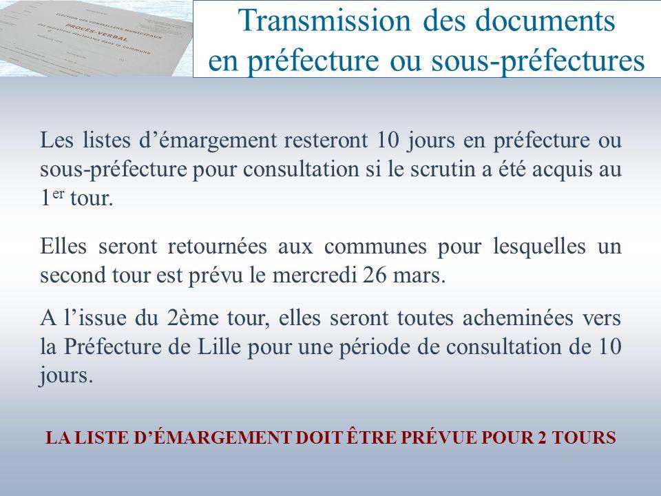 Les listes démargement resteront 10 jours en préfecture ou sous-préfecture pour consultation si le scrutin a été acquis au 1 er tour. Elles seront ret