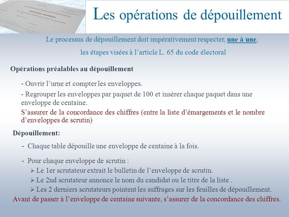 L es opérations de dépouillement Opérations préalables au dépouillement - Ouvrir lurne et compter les enveloppes. - Regrouper les enveloppes par paque