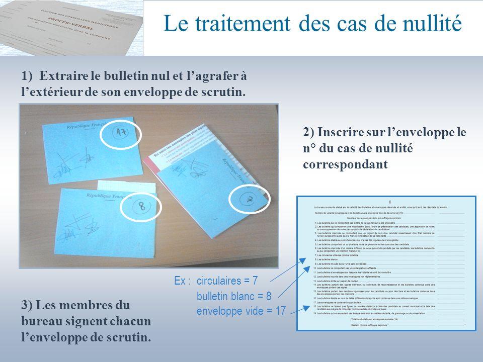 Le traitement des cas de nullité Les bulletins nuls (et leurs enveloppes de scrutin) sont épinglés à la feuille de pointage correspondante