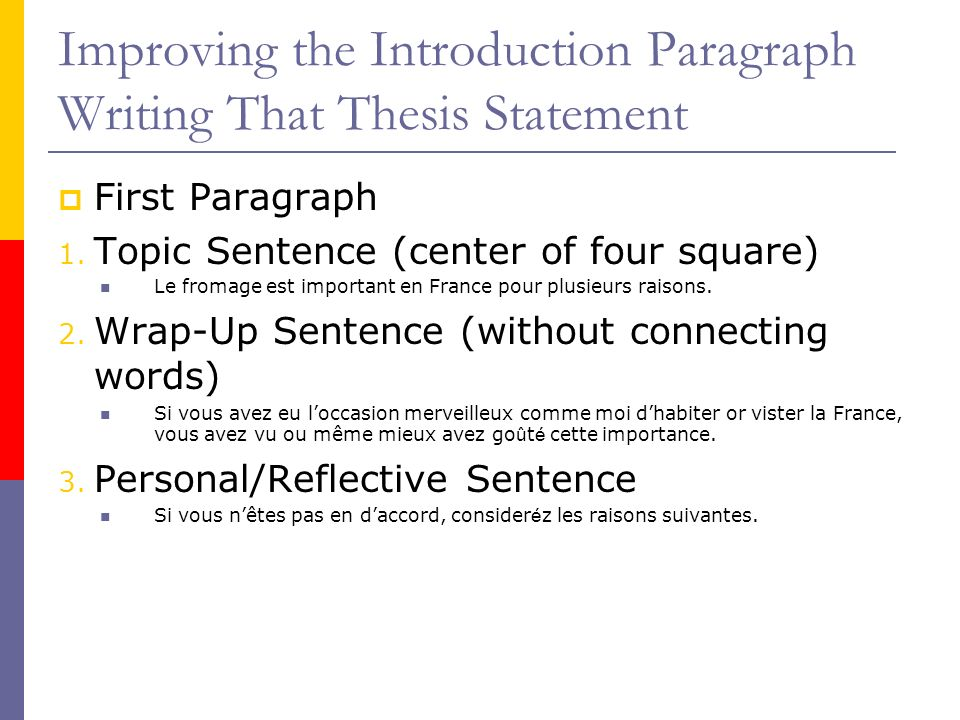 Improving the Introduction Paragraph Writing That Thesis Statement First Paragraph 1. Topic Sentence (center of four square) Le fromage est important