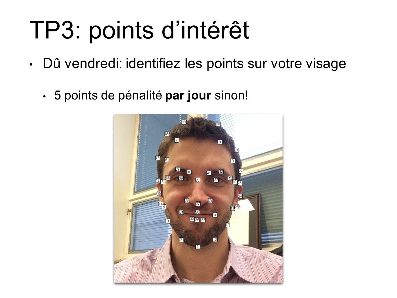 TP3: points dintérêt Dû vendredi: identifiez les points sur votre visage 5 points de pénalité par jour sinon!