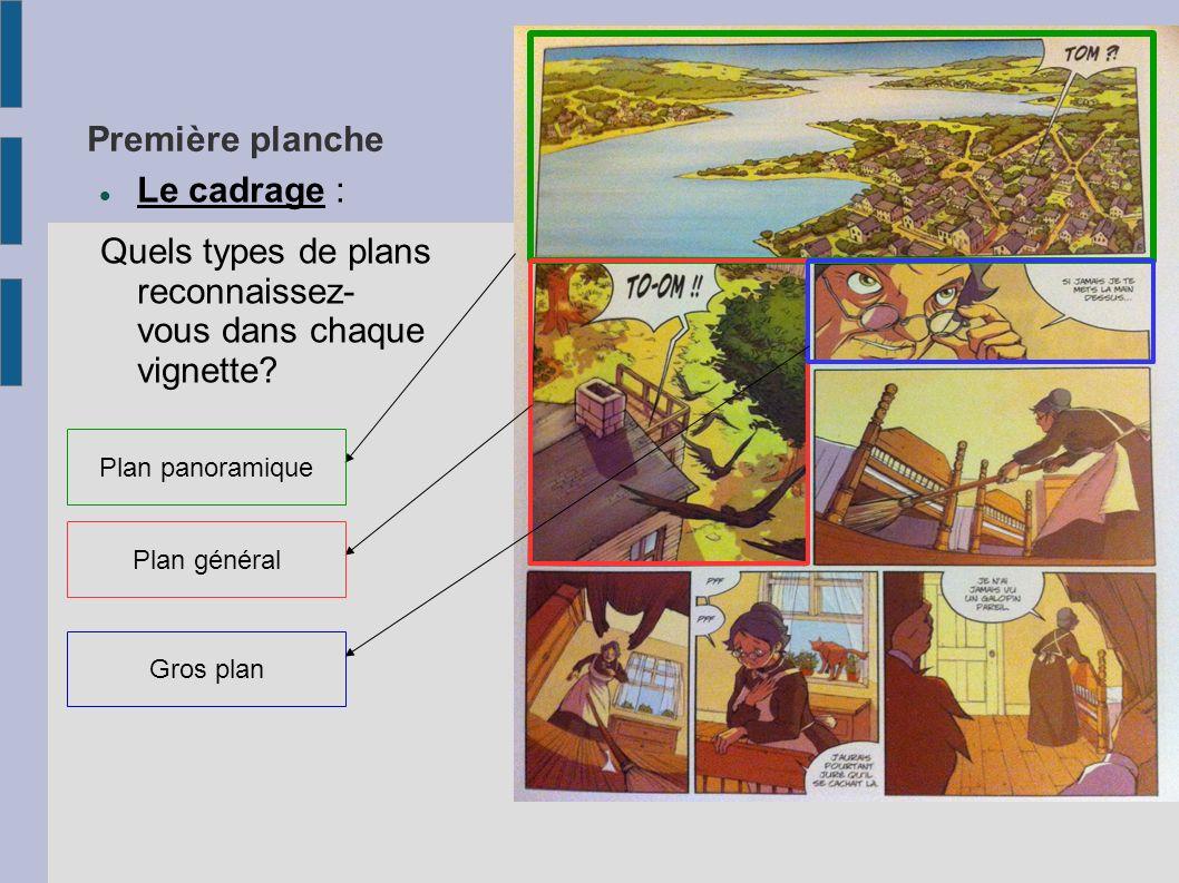 Première planche Le cadrage : Quels types de plans reconnaissez- vous dans chaque vignette? Plan panoramique Plan général Gros plan