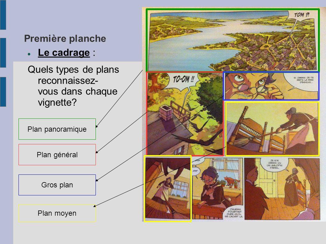 Première planche Le cadrage : Quels types de plans reconnaissez- vous dans chaque vignette? Plan panoramique Plan général Gros plan Plan moyen