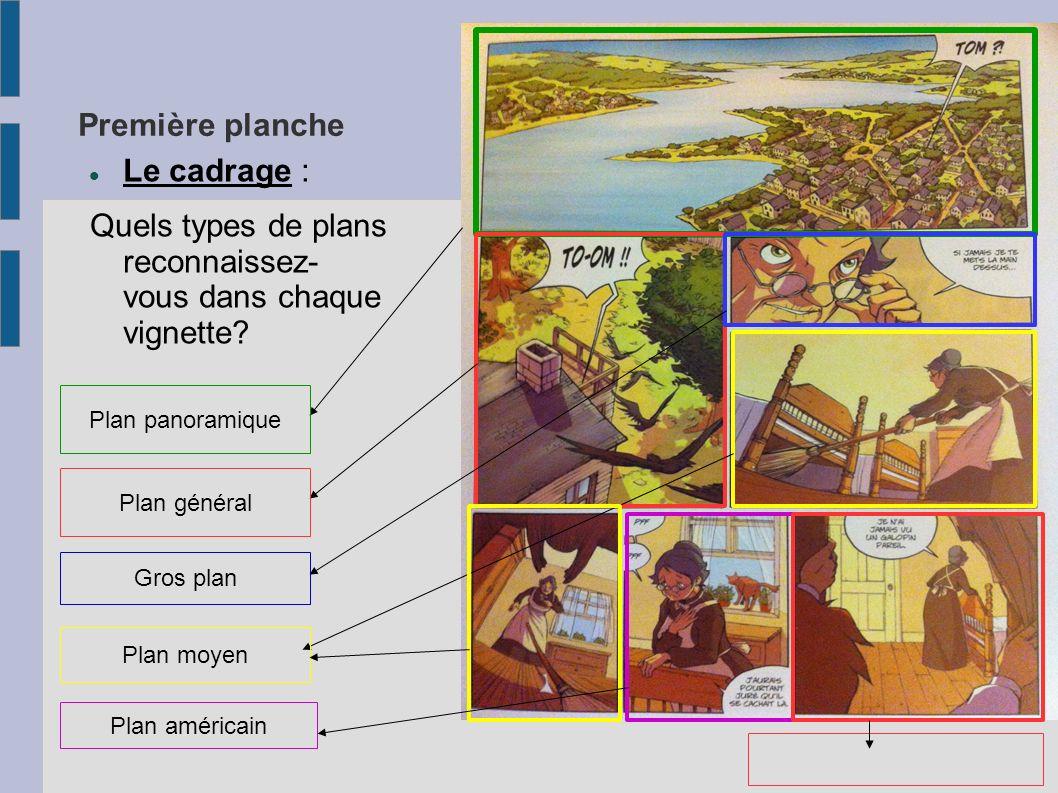 Première planche Le cadrage : Quels types de plans reconnaissez- vous dans chaque vignette? Plan panoramique Plan général Gros plan Plan moyen Plan am