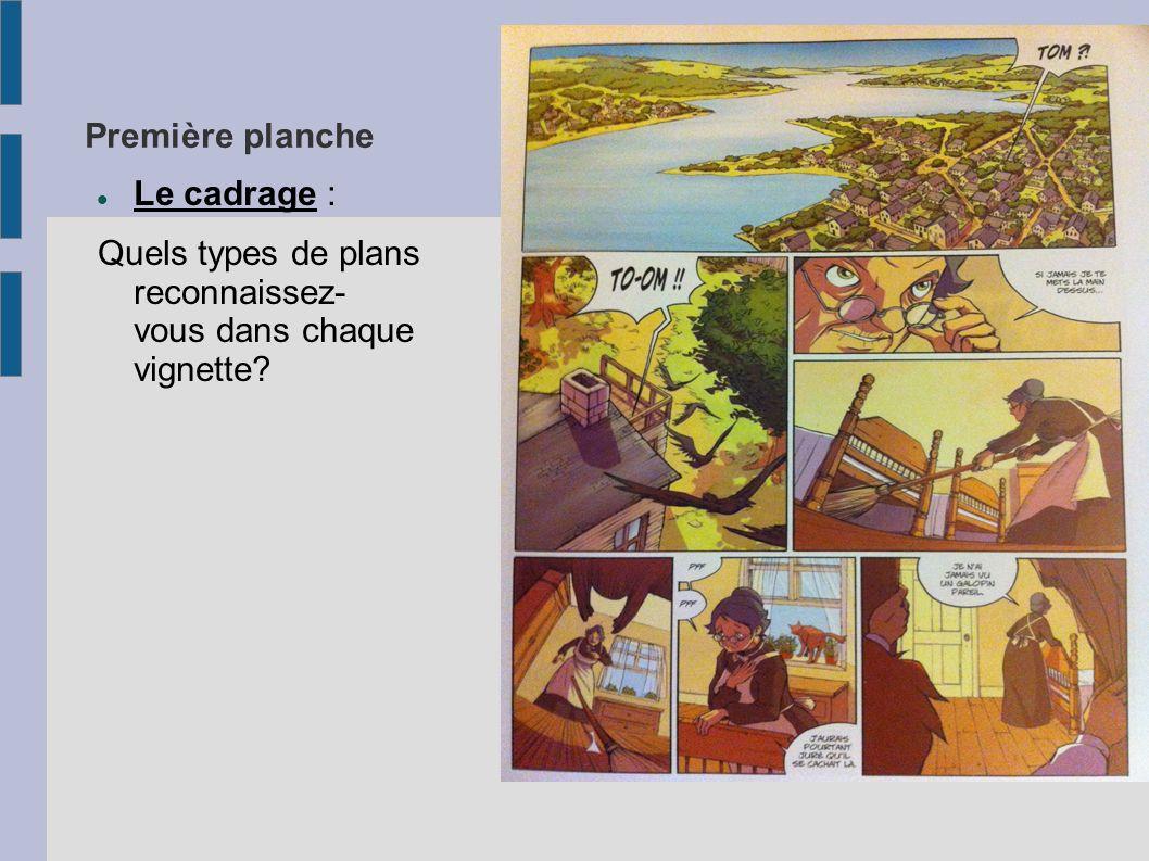 Première planche Le cadrage : Quels types de plans reconnaissez- vous dans chaque vignette?