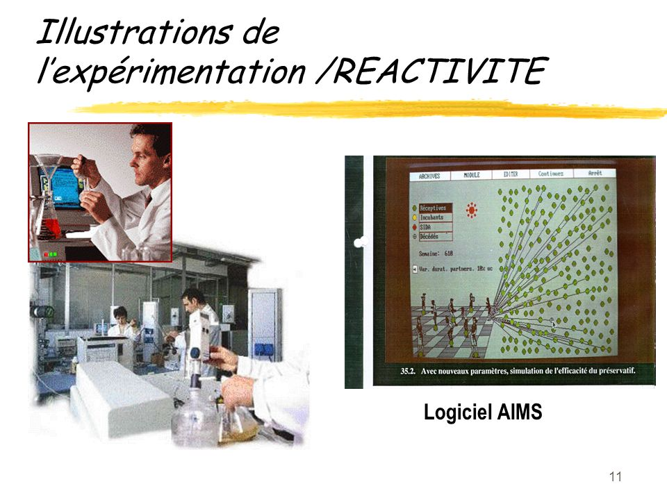 11 Illustrations de lexpérimentation /REACTIVITE Logiciel AIMS