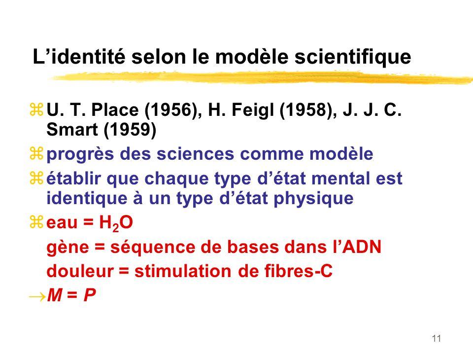11 Lidentité selon le modèle scientifique U. T. Place (1956), H. Feigl (1958), J. J. C. Smart (1959) progrès des sciences comme modèle établir que cha