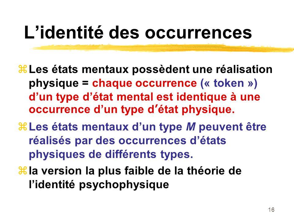 16 Lidentité des occurrences Les états mentaux possèdent une réalisation physique = chaque occurrence (« token ») dun type détat mental est identique à une occurrence dun type détat physique.