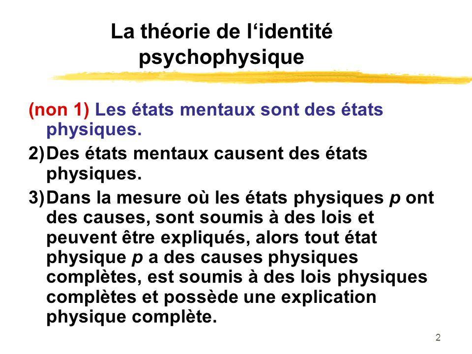 2 La théorie de lidentité psychophysique (non 1) Les états mentaux sont des états physiques. 2)Des états mentaux causent des états physiques. 3)Dans l