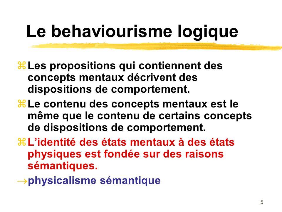 5 Le behaviourisme logique Les propositions qui contiennent des concepts mentaux décrivent des dispositions de comportement. Le contenu des concepts m