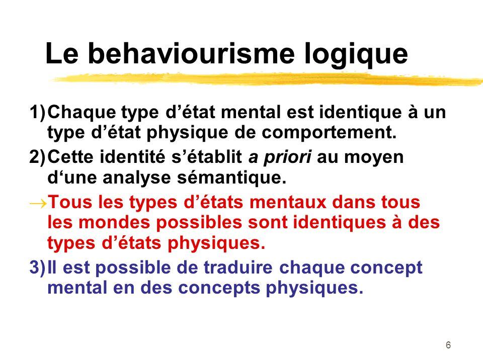 6 Le behaviourisme logique 1)Chaque type détat mental est identique à un type détat physique de comportement. 2)Cette identité sétablit a priori au mo