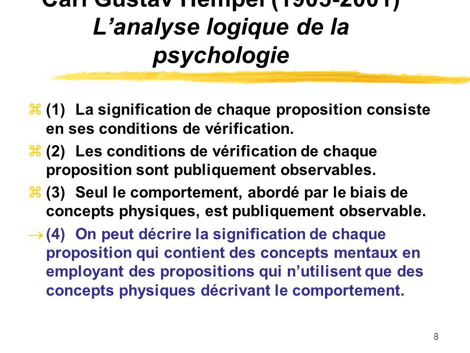 8 Carl Gustav Hempel (1905-2001) Lanalyse logique de la psychologie (1)La signification de chaque proposition consiste en ses conditions de vérificati