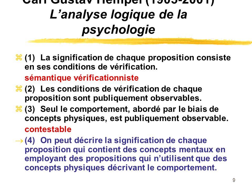 9 Carl Gustav Hempel (1905-2001) Lanalyse logique de la psychologie (1)La signification de chaque proposition consiste en ses conditions de vérificati