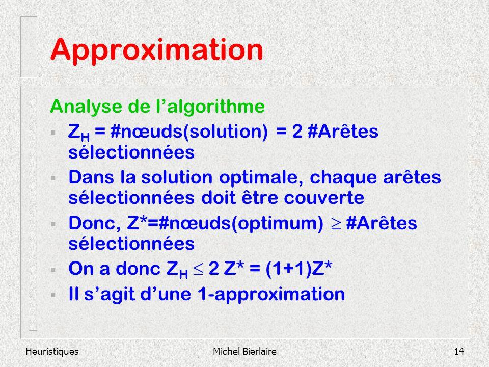 HeuristiquesMichel Bierlaire14 Approximation Analyse de lalgorithme Z H = #nœuds(solution) = 2 #Arêtes sélectionnées Dans la solution optimale, chaque arêtes sélectionnées doit être couverte Donc, Z*=#nœuds(optimum) #Arêtes sélectionnées On a donc Z H 2 Z* = (1+1)Z* Il sagit dune 1-approximation