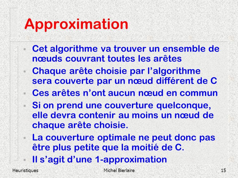 HeuristiquesMichel Bierlaire15 Approximation Cet algorithme va trouver un ensemble de nœuds couvrant toutes les arêtes Chaque arête choisie par lalgorithme sera couverte par un nœud différent de C Ces arêtes nont aucun nœud en commun Si on prend une couverture quelconque, elle devra contenir au moins un nœud de chaque arête choisie.