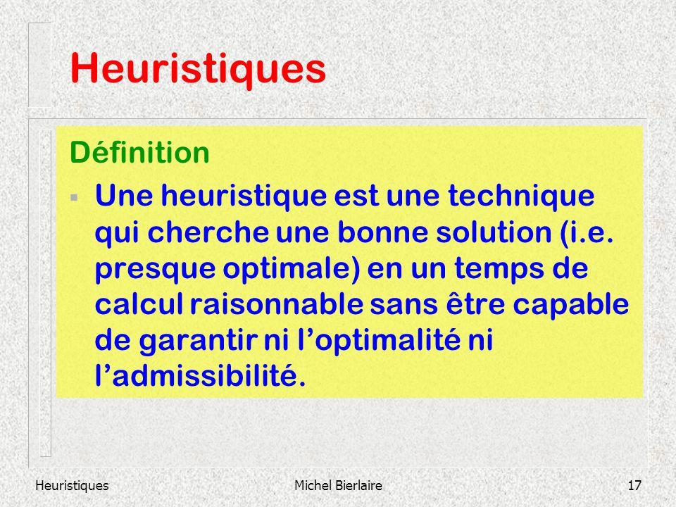 HeuristiquesMichel Bierlaire17 Heuristiques Définition Une heuristique est une technique qui cherche une bonne solution (i.e. presque optimale) en un