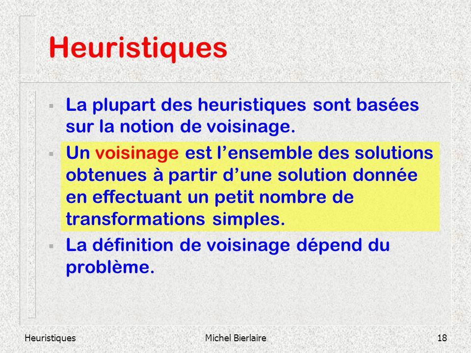 HeuristiquesMichel Bierlaire18 La plupart des heuristiques sont basées sur la notion de voisinage. Un voisinage est lensemble des solutions obtenues à
