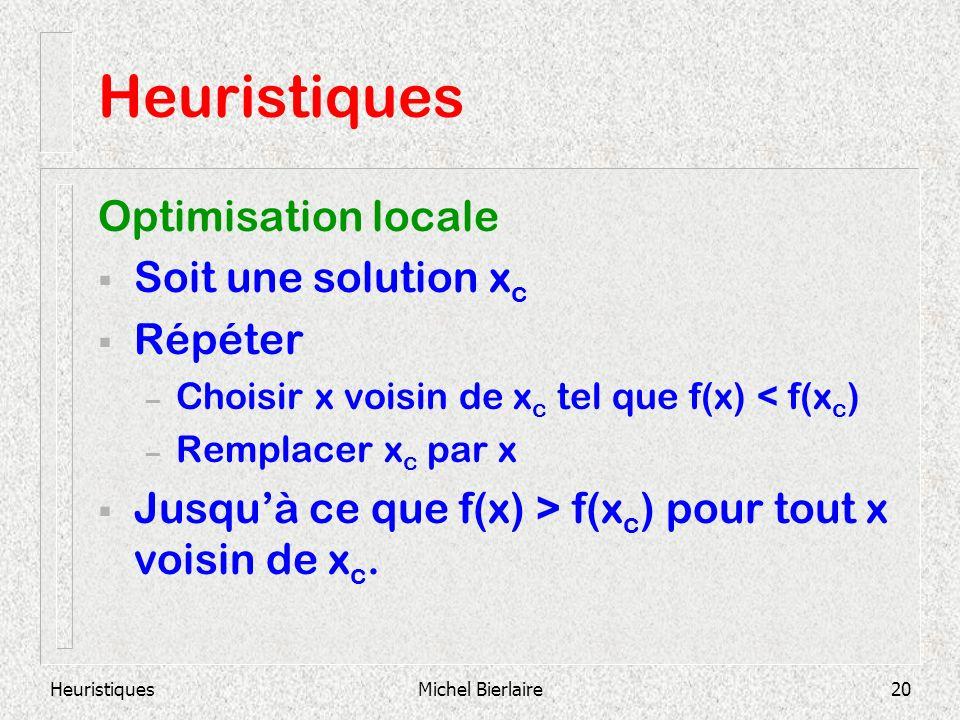 HeuristiquesMichel Bierlaire20 Heuristiques Optimisation locale Soit une solution x c Répéter – Choisir x voisin de x c tel que f(x) < f(x c ) – Remplacer x c par x Jusquà ce que f(x) > f(x c ) pour tout x voisin de x c.