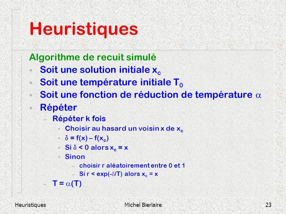 HeuristiquesMichel Bierlaire23 Heuristiques Algorithme de recuit simulé Soit une solution initiale x c Soit une température initiale T 0 Soit une fonction de réduction de température Répéter – Répéter k fois Choisir au hasard un voisin x de x c = f(x) – f(x c ) Si < 0 alors x c = x Sinon – choisir r aléatoirement entre 0 et 1 – Si r < exp(- /T) alors x c = x – T = (T)