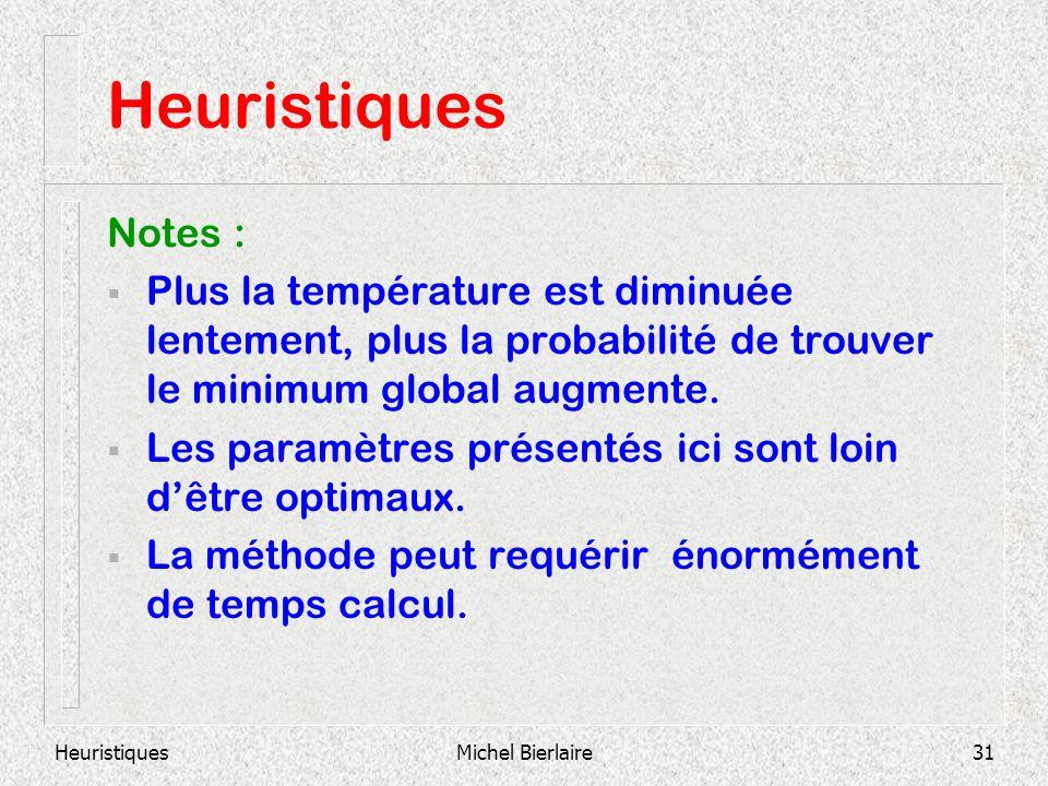 HeuristiquesMichel Bierlaire31 Heuristiques Notes : Plus la température est diminuée lentement, plus la probabilité de trouver le minimum global augmente.