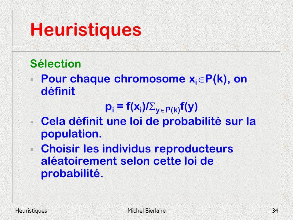HeuristiquesMichel Bierlaire34 Heuristiques Sélection Pour chaque chromosome x i P(k), on définit p i = f(x i )/ y P(k) f(y) Cela définit une loi de probabilité sur la population.