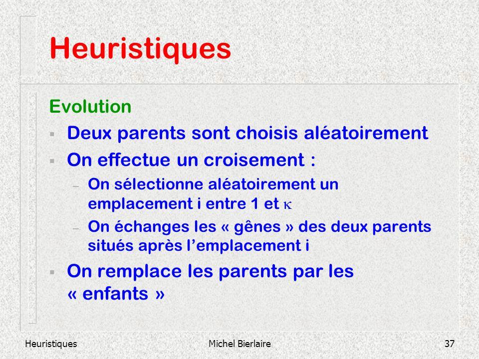 HeuristiquesMichel Bierlaire37 Heuristiques Evolution Deux parents sont choisis aléatoirement On effectue un croisement : – On sélectionne aléatoirement un emplacement i entre 1 et – On échanges les « gênes » des deux parents situés après lemplacement i On remplace les parents par les « enfants »